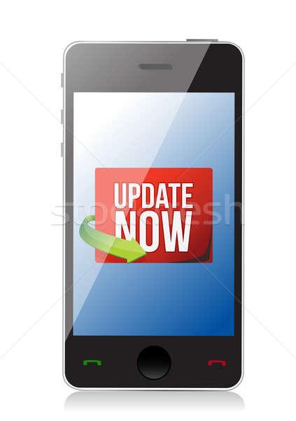 Aktualizacja teraz etykiety smartphone ekranu ilustracja Zdjęcia stock © alexmillos