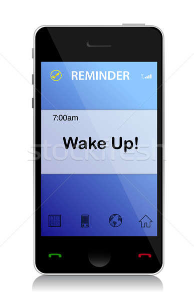 Wake up cell message illustration design over white Stock photo © alexmillos