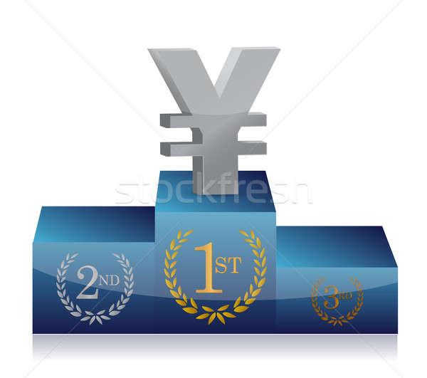 Yen winnaars podium illustratie ontwerp witte Stockfoto © alexmillos