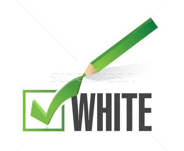 race selection. pick white. illustration design over a white bac Stock photo © alexmillos