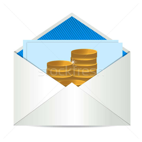Munten envelop papier kaart business ontwerp Stockfoto © alexmillos