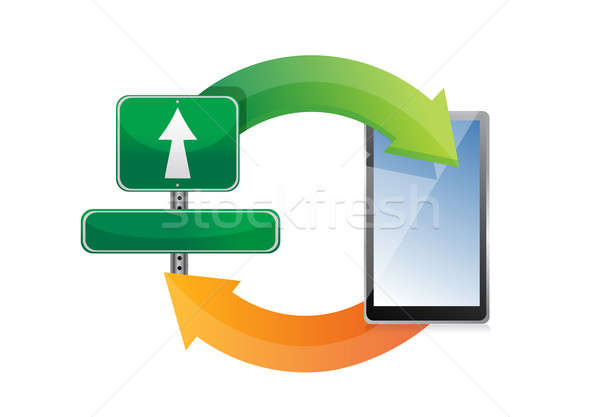 Cycle sign and tablet illustration design over white background Stock photo © alexmillos