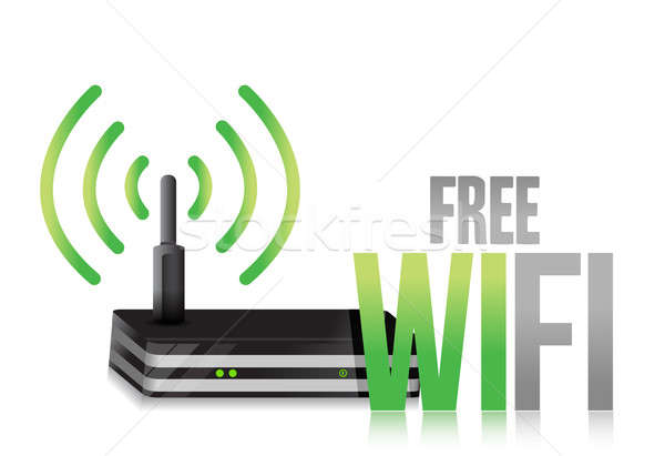 Kostenlos wifi Router Illustration Design weiß Stock foto © alexmillos