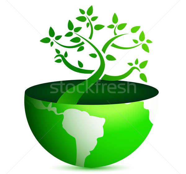 Stockfoto: Wereldbol · boom · illustratie · ontwerp · witte · wereld
