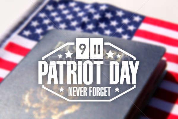 патриот день печать американский паспорта флаг Сток-фото © alexmillos