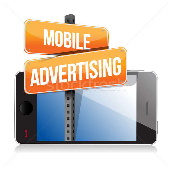 mobile smart phone. Mobile advertising sign Stock photo © alexmillos
