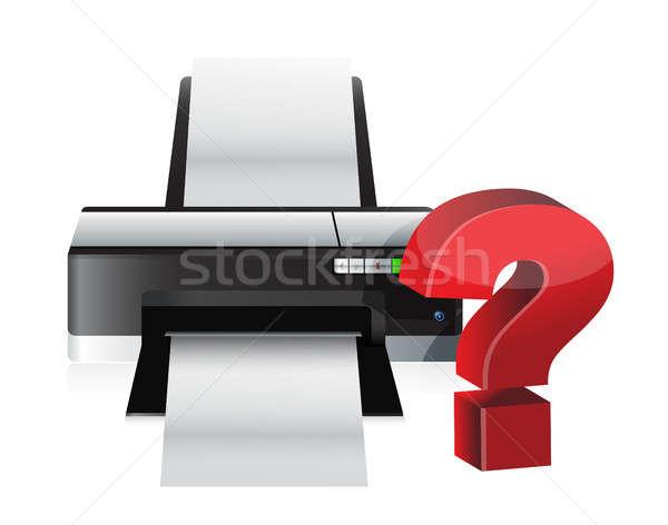 Nyomtató kérdőjel illusztráció terv fehér piros Stock fotó © alexmillos