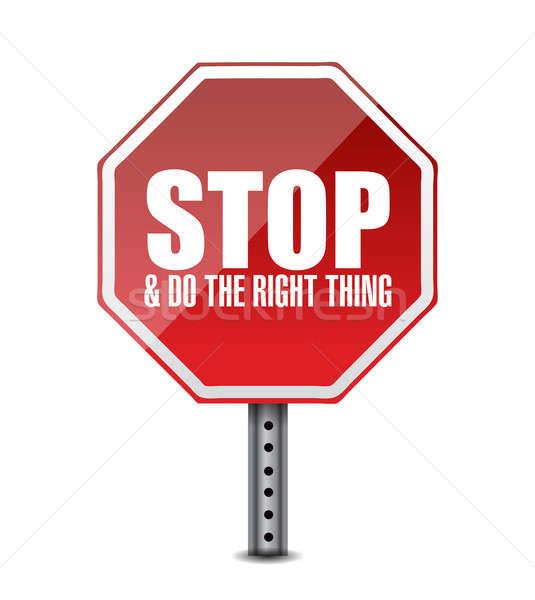 Doğru dur işareti örnek dizayn beyaz sokak Stok fotoğraf © alexmillos