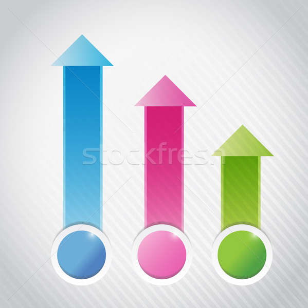 colorful info graphics business graph illustration Stock photo © alexmillos