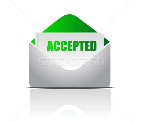 accepted (letter) illustration of mail envelope over white backg Stock photo © alexmillos