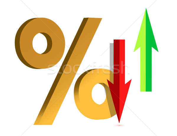 Illustration showing a Rise and Fall in Interest with symbol per Stock photo © alexmillos