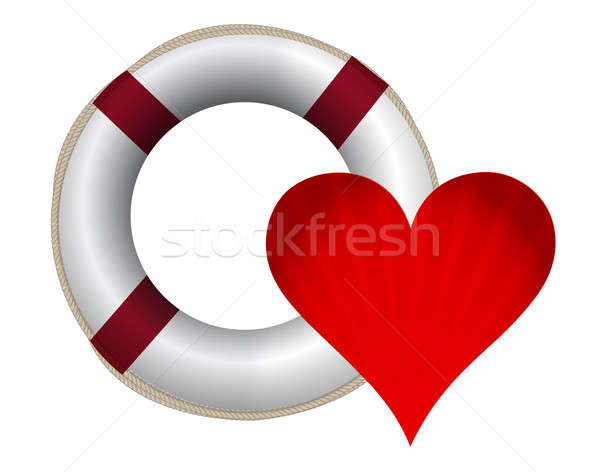 lifesaver and heart illustration design over a white background Stock photo © alexmillos