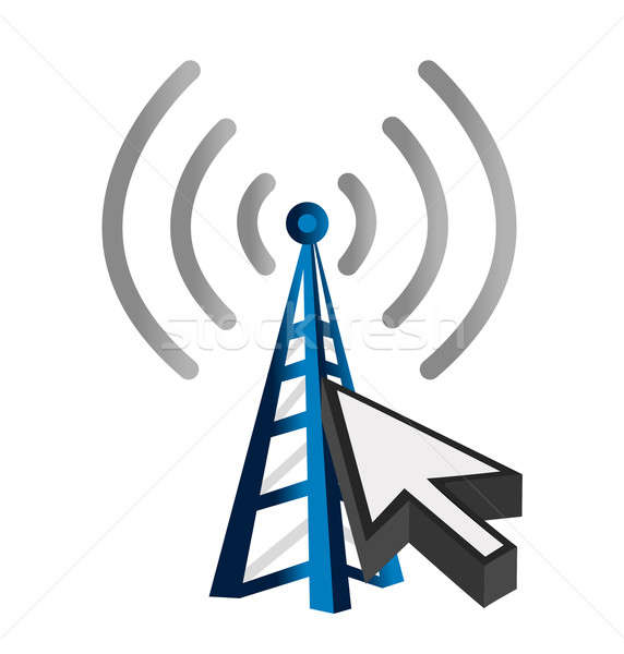 Stock photo: Blue wireless technology tower and cursor illustration design