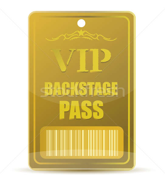 Stock photo: Gold VIP backstage pass with bar code, isolated on white backgro