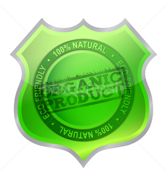 Organic product shield guaranty illustration design over white Stock photo © alexmillos