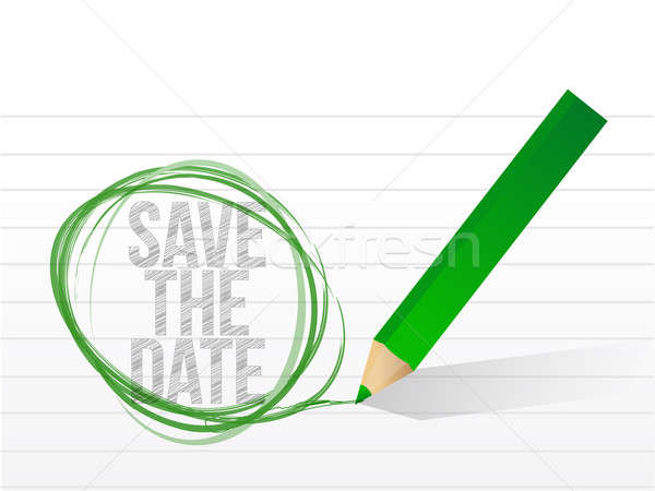 save the date written on a notepad paper. illustration design Stock photo © alexmillos