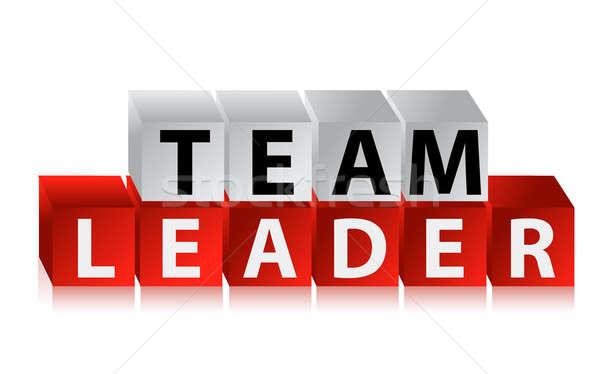 Chef d'équipe texte rouge cubes illustration design Photo stock © alexmillos