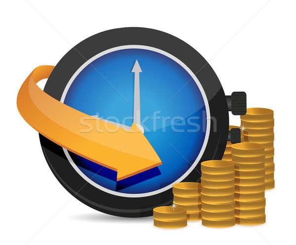 Tijd is geld illustratie ontwerp witte klok werk Stockfoto © alexmillos