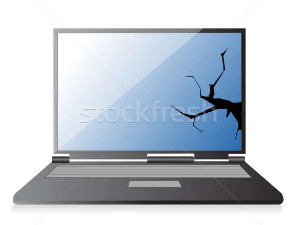 broken laptop illustration design over a white background Stock photo © alexmillos