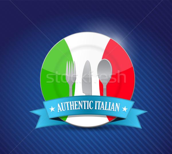 Tradizionale ristorante italiano menu illustrazione design blu Foto d'archivio © alexmillos