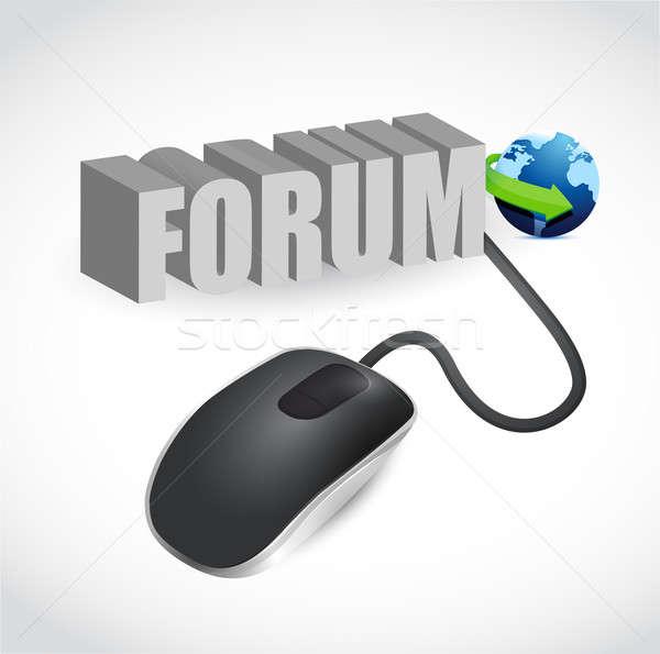 Modern szürke számítógép egér szó fórum egér Stock fotó © alexmillos