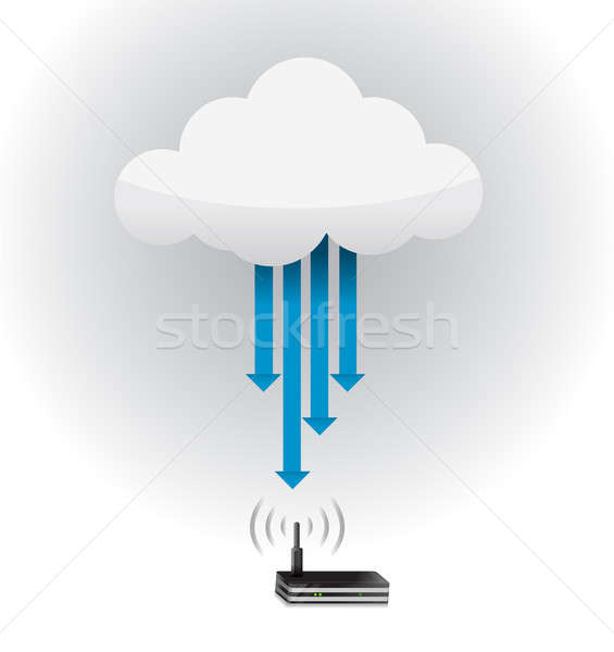 Router Cloud Computing Verbindung Illustration Design Internet Stock foto © alexmillos