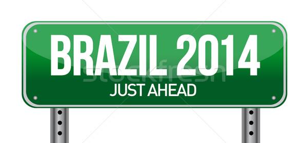 BRAZIL road sign Stock photo © alexmillos