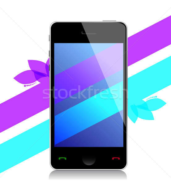 mobile with bright wallpaper on touchscreen illustration design  Stock photo © alexmillos