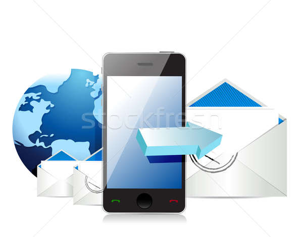 Mobile internet mail illustration design over white Stock photo © alexmillos