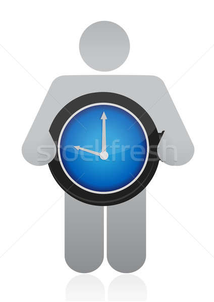 icon holding a watch illustration over white Stock photo © alexmillos