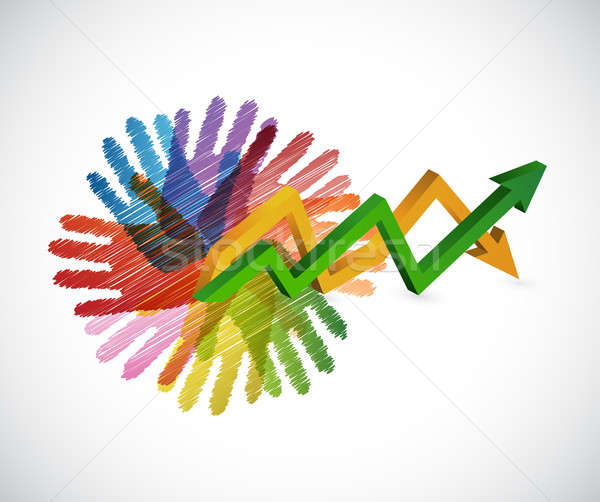 hands an arrow business graph isolated Stock photo © alexmillos