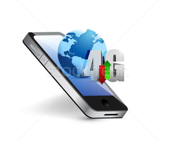 телефон 4g мира иллюстрация дизайна белый Сток-фото © alexmillos