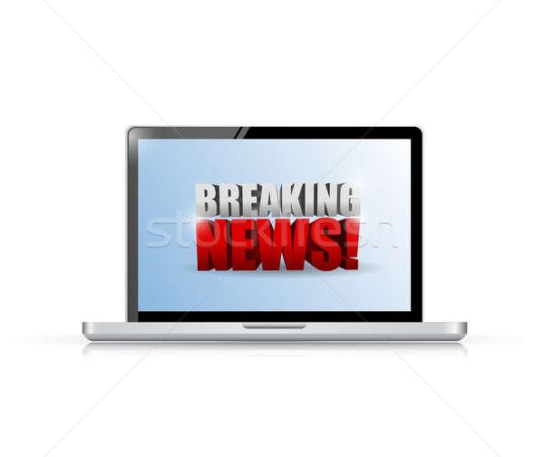 ニュース速報 にログイン ノートパソコン 実例 デザイン 白 ストックフォト © alexmillos