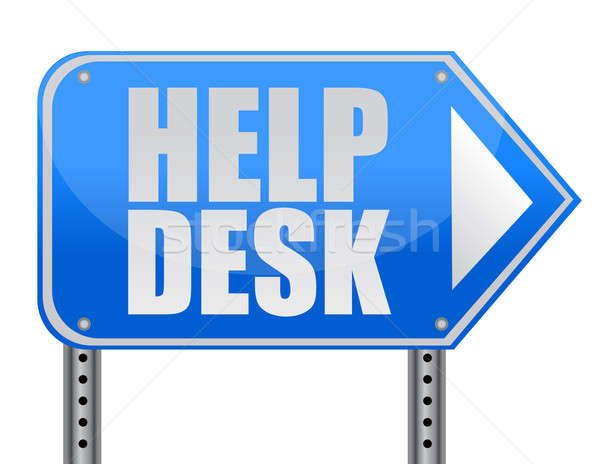 helping road sign support desk illustration isolated over white Stock photo © alexmillos