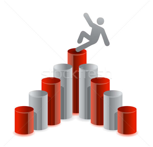 Man falling from top of graph Stock photo © alexmillos