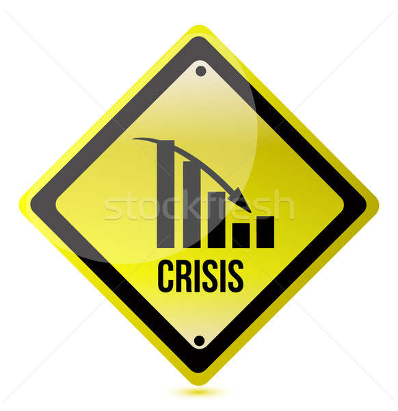 Stock photo: crisis ahead graph yellow traffic sign illustration design over