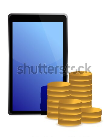 Stock photo: Phone and coins around illustration design over white