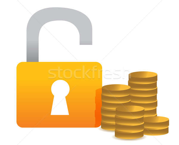 Unlocked money illustration concept design over white Stock photo © alexmillos