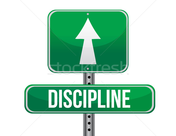 discipline road sign illustration design over a white background Stock photo © alexmillos