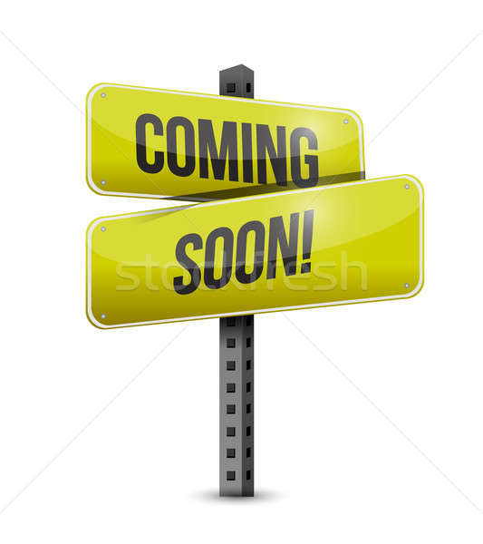 coming soon road sign illustration design over a white backgroun Stock photo © alexmillos