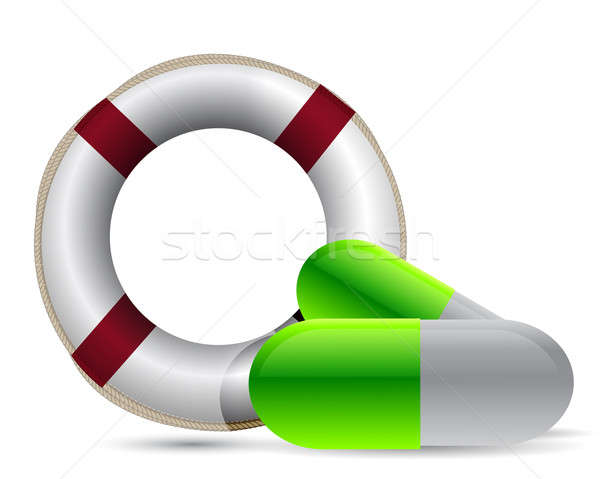 sos lifesaver pills illustration design over white Stock photo © alexmillos