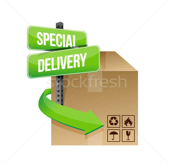 special delivery concept sign illustration design over white Stock photo © alexmillos