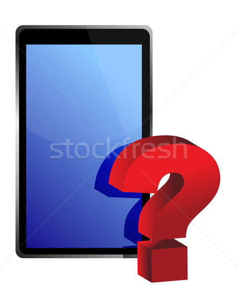 tablet and question mark illustration design over white Stock photo © alexmillos