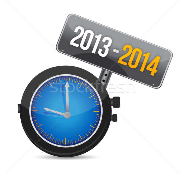 2013 2014 watch illustration design over a white background Stock photo © alexmillos