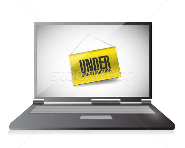 laptop with under construction hanging banner illustration desig Stock photo © alexmillos