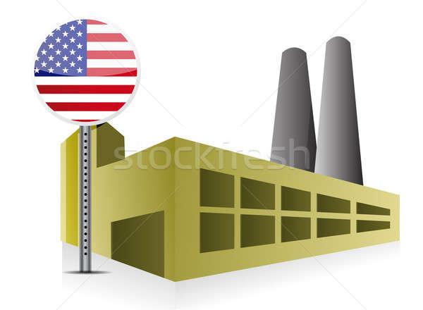 Amerikai ipari épület gyár erőmű illusztráció Stock fotó © alexmillos