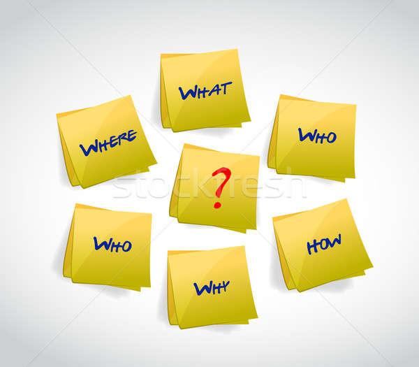 post questions concept illustration design over white Stock photo © alexmillos
