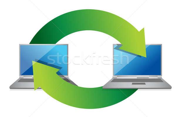 Laptop exchange illustration design on white background Stock photo © alexmillos