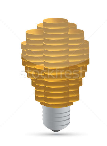 Golden coin lightbulb creative symbol of business illustration d Stock photo © alexmillos