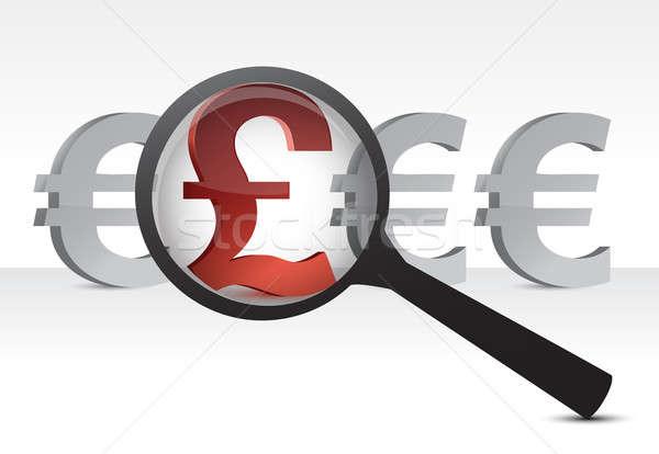 Euros libra moeda ampliar ilustração projeto Foto stock © alexmillos